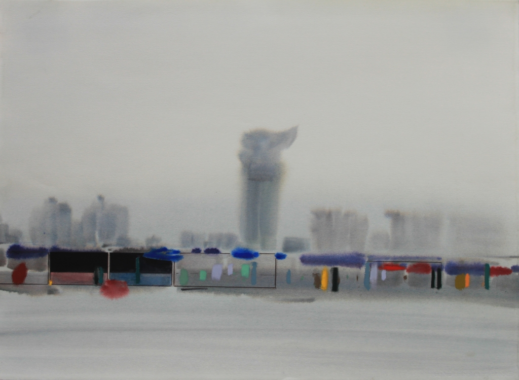 'Olympic Park Souvenir Stalls' w:c 56x76 cm