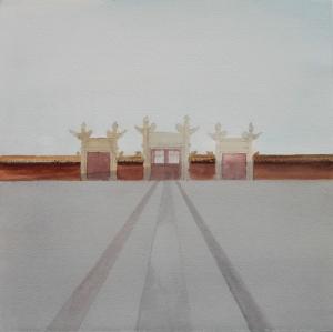 'Temple of Earth' 28x28 cm w-c